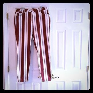 Red and White striped jeans